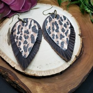 Genuine leather earring